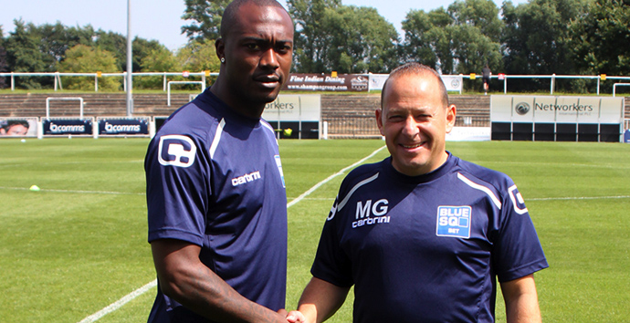Bromley FC - Manager Mark Goldberg and new signing Richard Pacquette