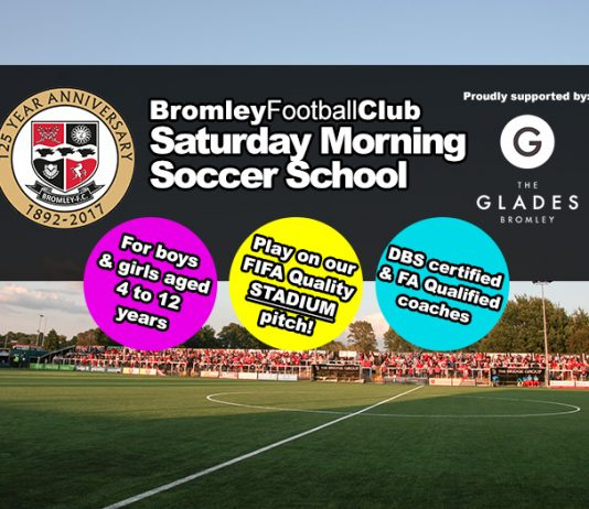 Bromley FC Saturday Morning Soccer School proudly supported by The Glades Bromley