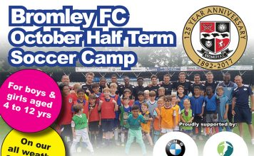 October Half Term Soccer Camp Bromley FC 2017