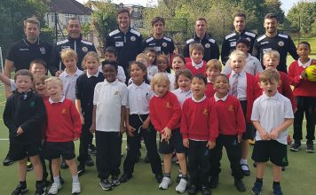 Bromley FC first team open new new multi-sports area at St Marks School