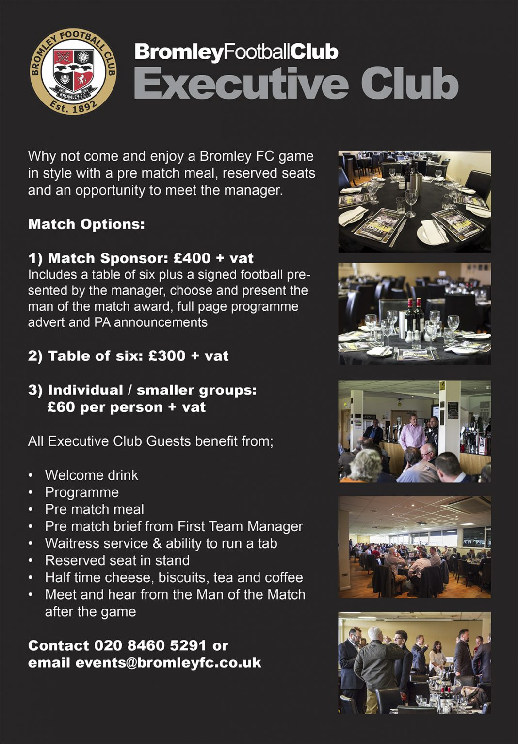 Executive Club - Match Day Hospitality
