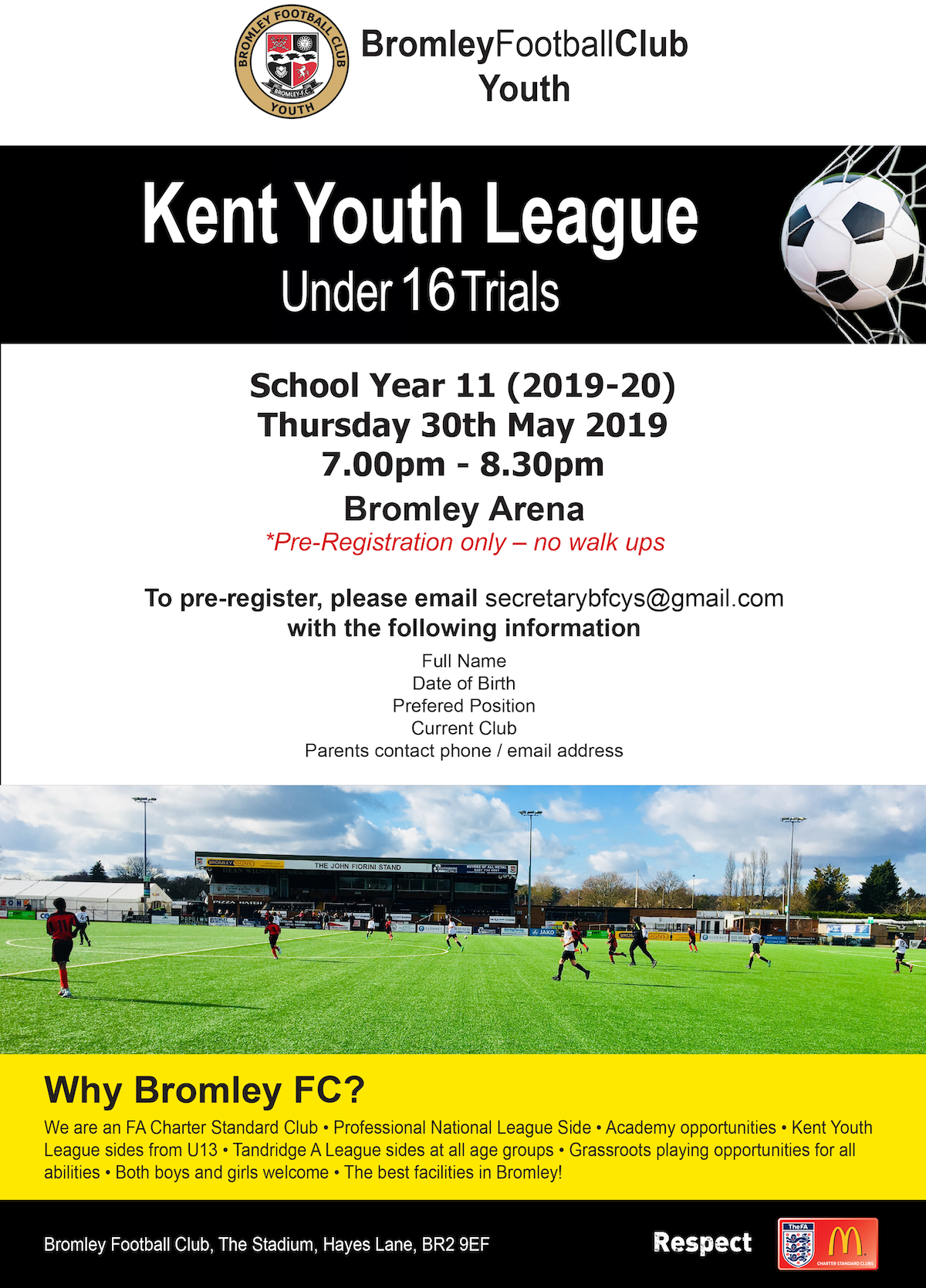 Bromley FC Under 16 Trials