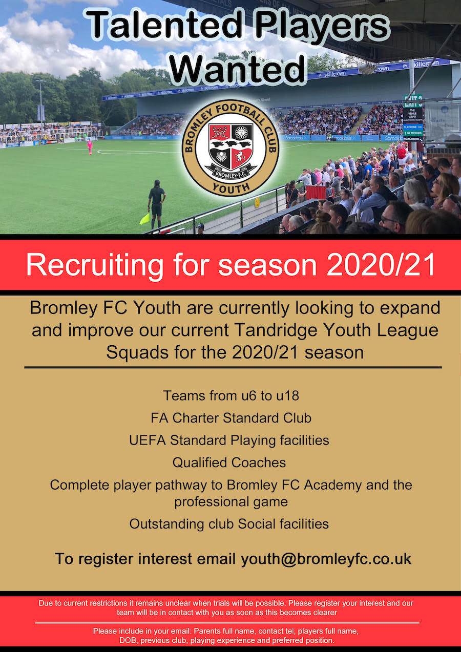 Bromley FC Tandridge Youth Trials Players Wanted