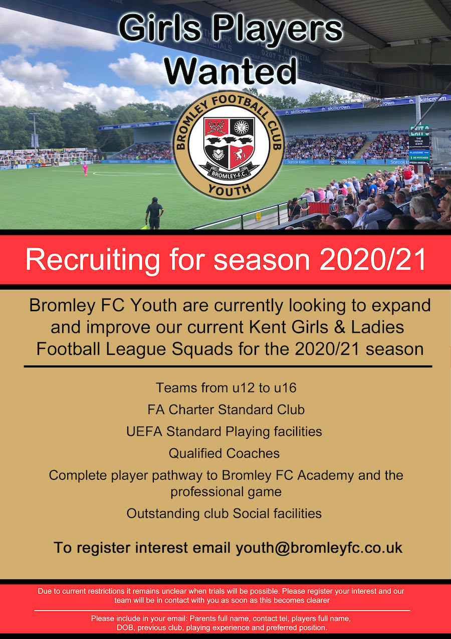 Bromley FC Youth Girls Trials Players Wanted